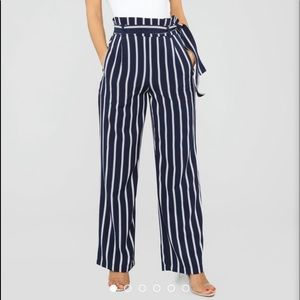 Do Yourself A Favor Tie Waist Pant - Navy/White
